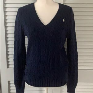 Ralph Lauren Sport Navy V-Neck Sweater